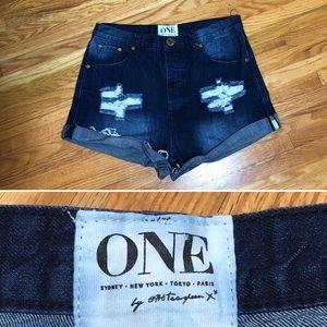 One Teaspoon Dark Wash High Rise Shorts Sz 28